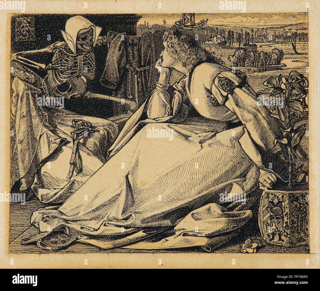 Frederick A. Sandys - Until her death - preparatory drawing for 'Good Words' - Stock Image