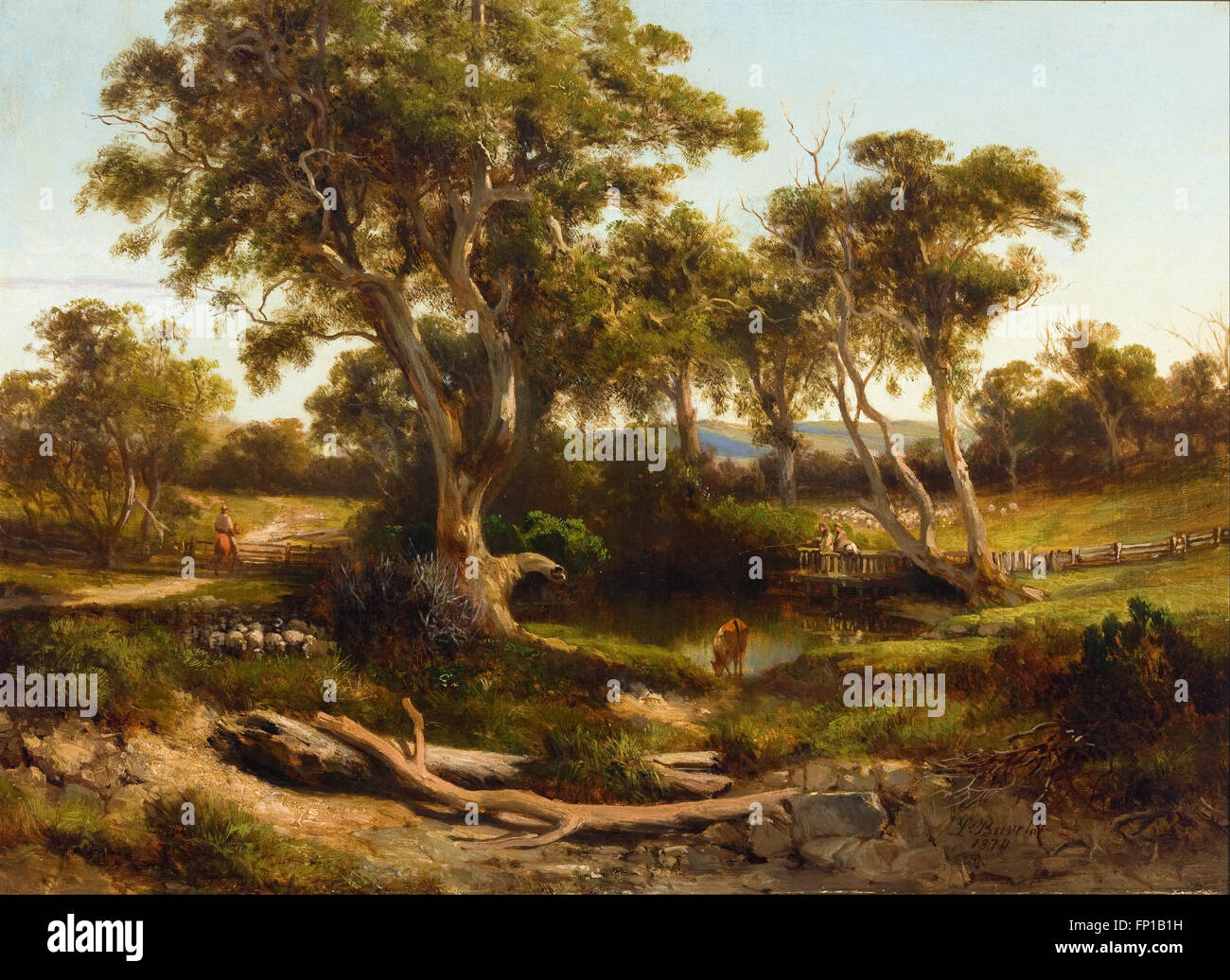 Louis Buvelot - Sheep wash in the western district - Stock Image