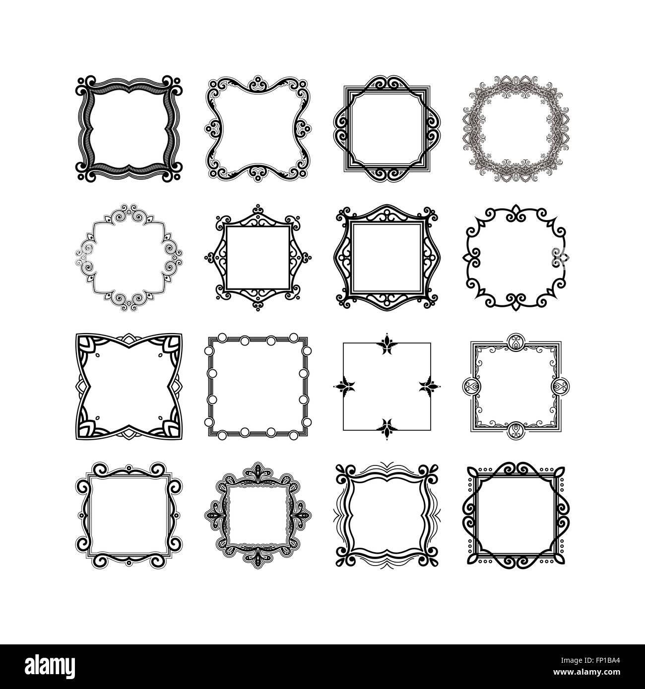 Set of ornate mandala frames and borders. Gothic lace tattoo. Celtic ...