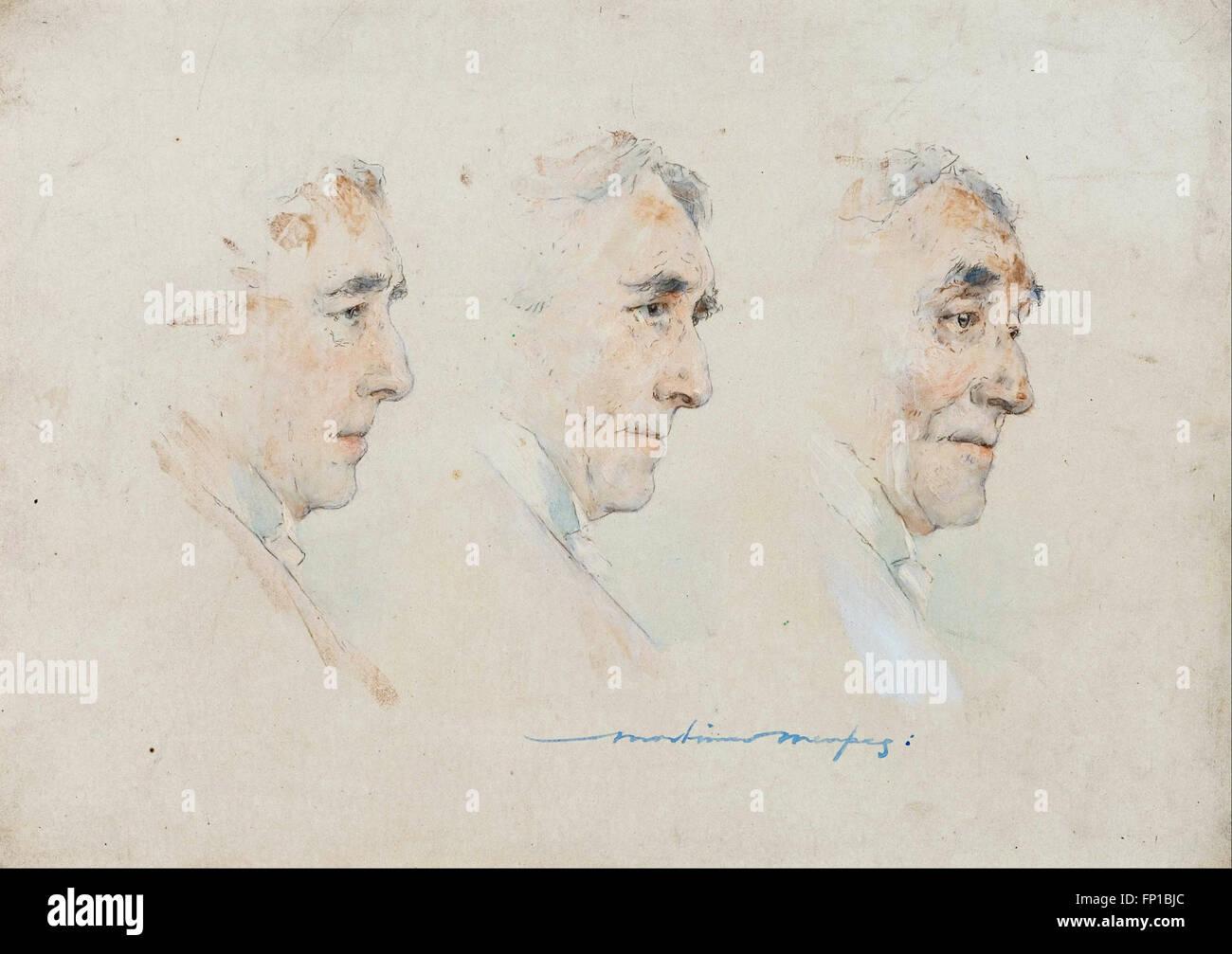 Mortimer Menpes - Triple portrait of Sir Henry Irving - Stock Image