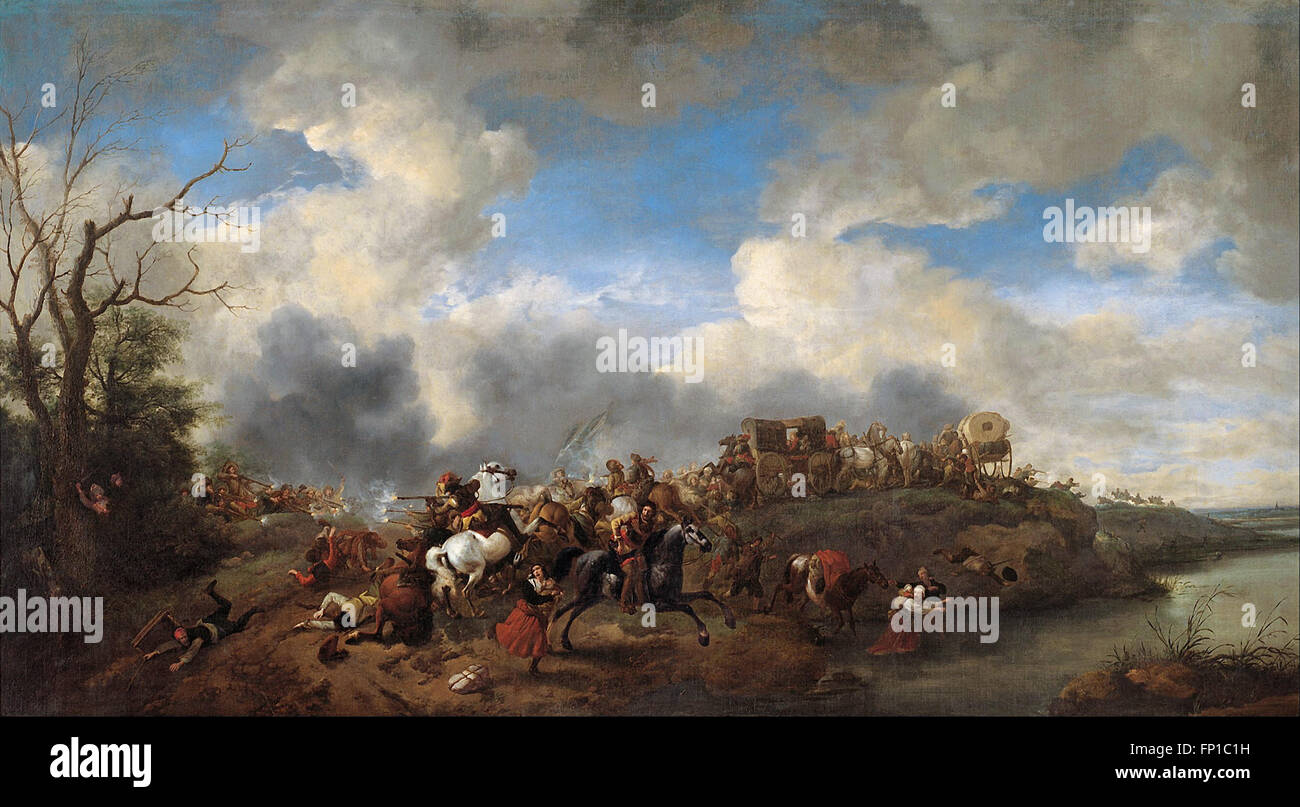 Philips Wouwerman - A cavalry battle - Stock Image