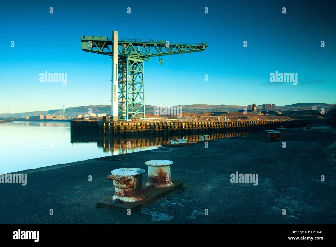 The Titan Crane and the River Clyde, Clydebank, West Dunbartonshire - Stock Image