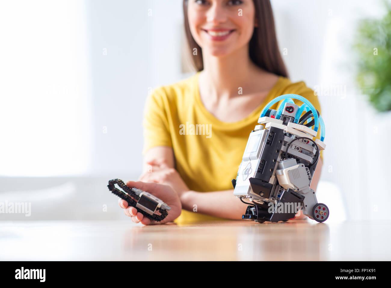Shall I play with robot - Stock Image