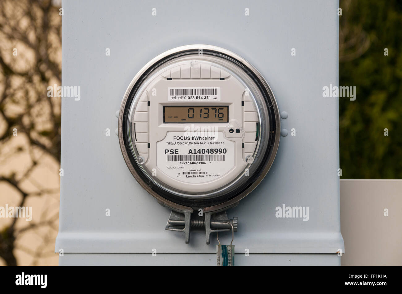 Digital electric meter for a mobile home park. Stock Photo
