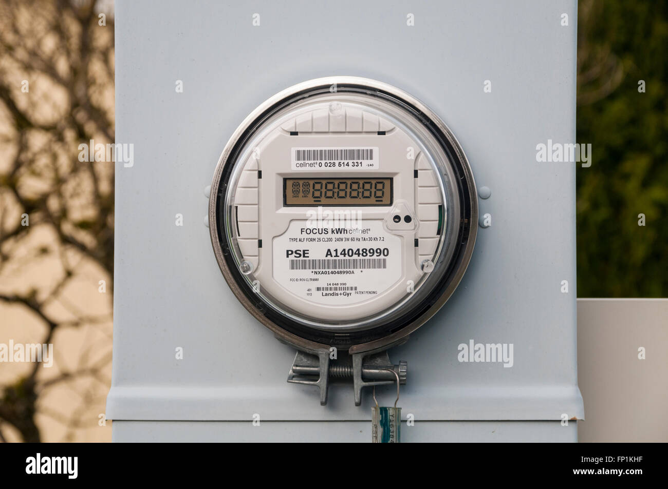 Electric meter for a mobile home park. Stock Photo
