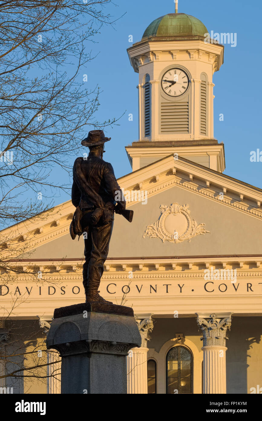 Civil War Common Confederate Soldier Statue, Lexington, NC Dedicated September 14, 1905. Davidson County. Main and - Stock Image