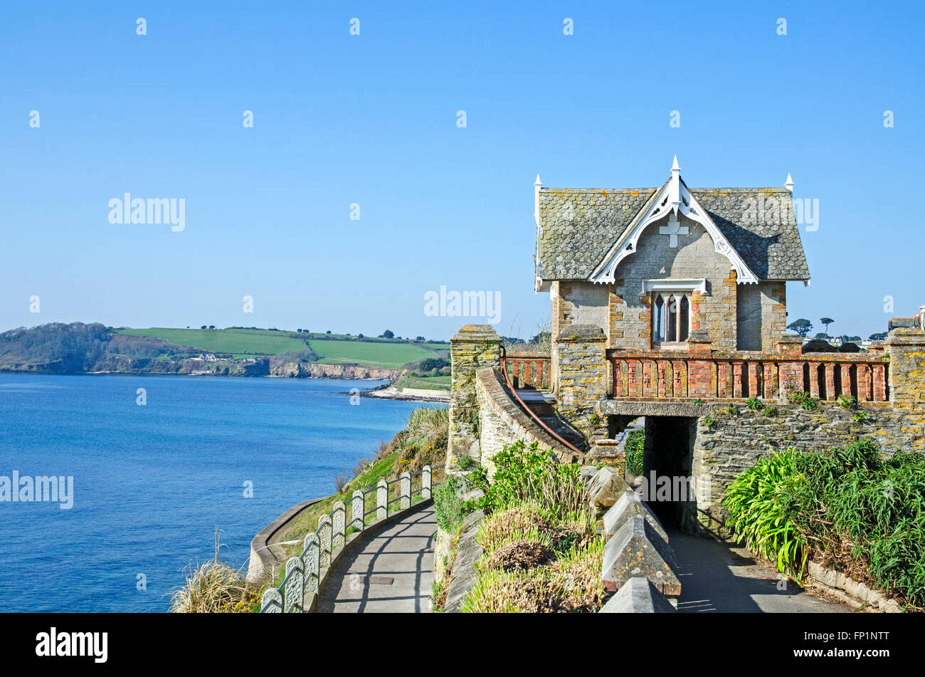 The old summer house on Cliff road in Falmouth, Cornwall, UK - Stock Image