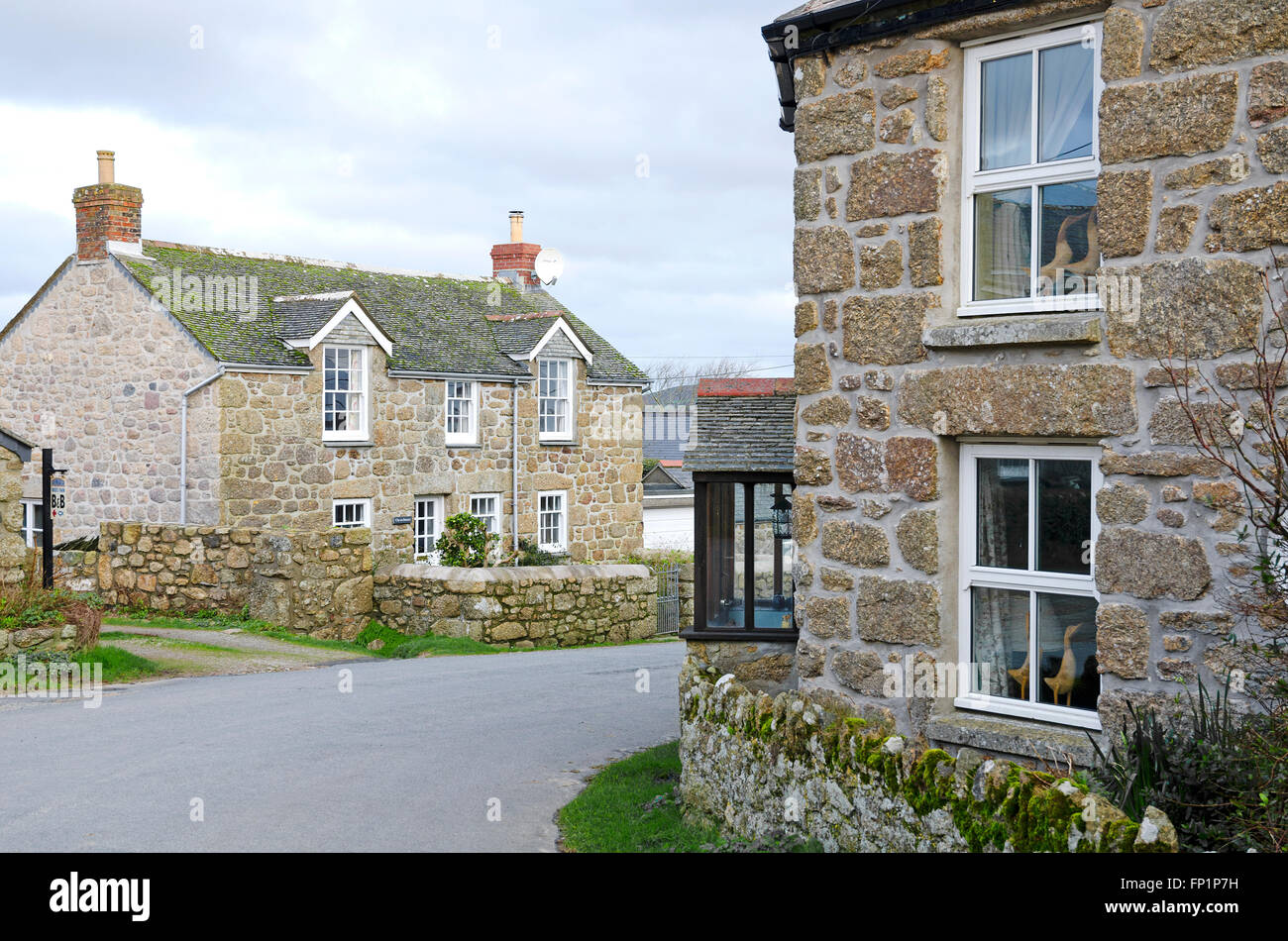The hamlet of Treen near Porthcurno in Cornwall, UK Stock Photo