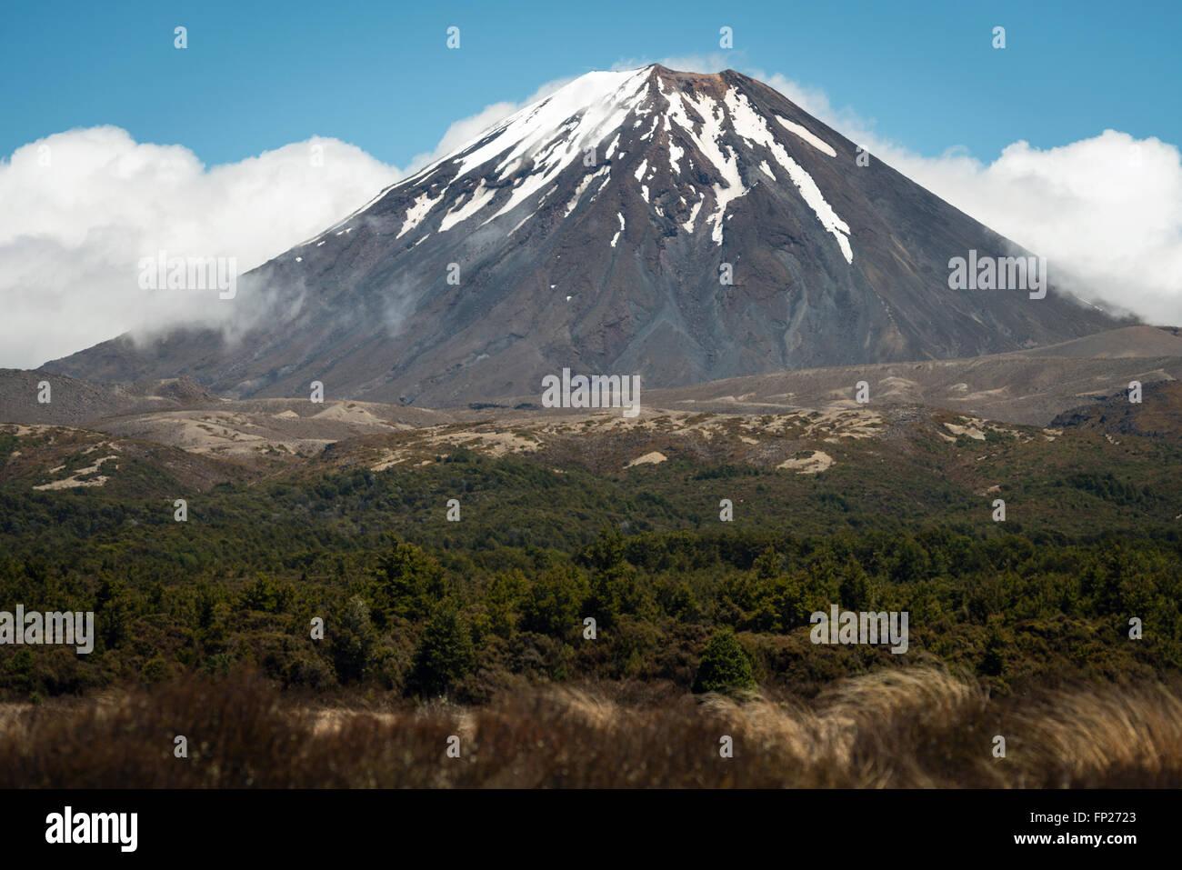 Mt. Ngauruhoe volcano in Tongariro National Park, New Zealand - Stock Image