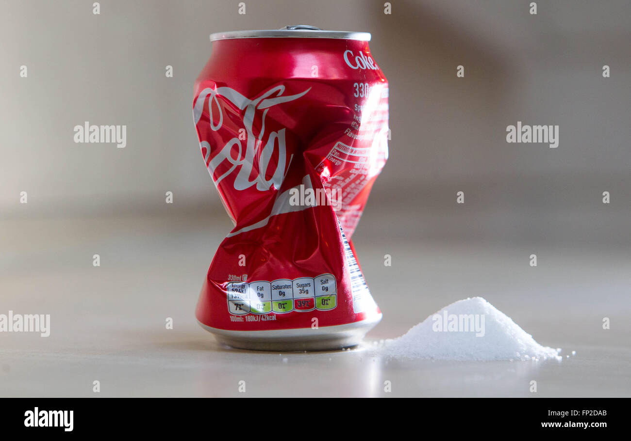 A can of Coca Cola. The 2016 budget has introduced a sugar tax which will affect soft drinks containing sugar. - Stock Image