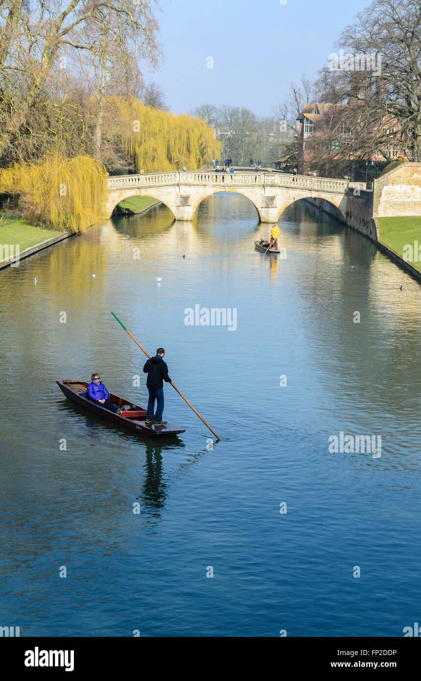 People punting on the River Cam, Cambridge, Cambridgeshire, England, United Kingdom. Stock Photo