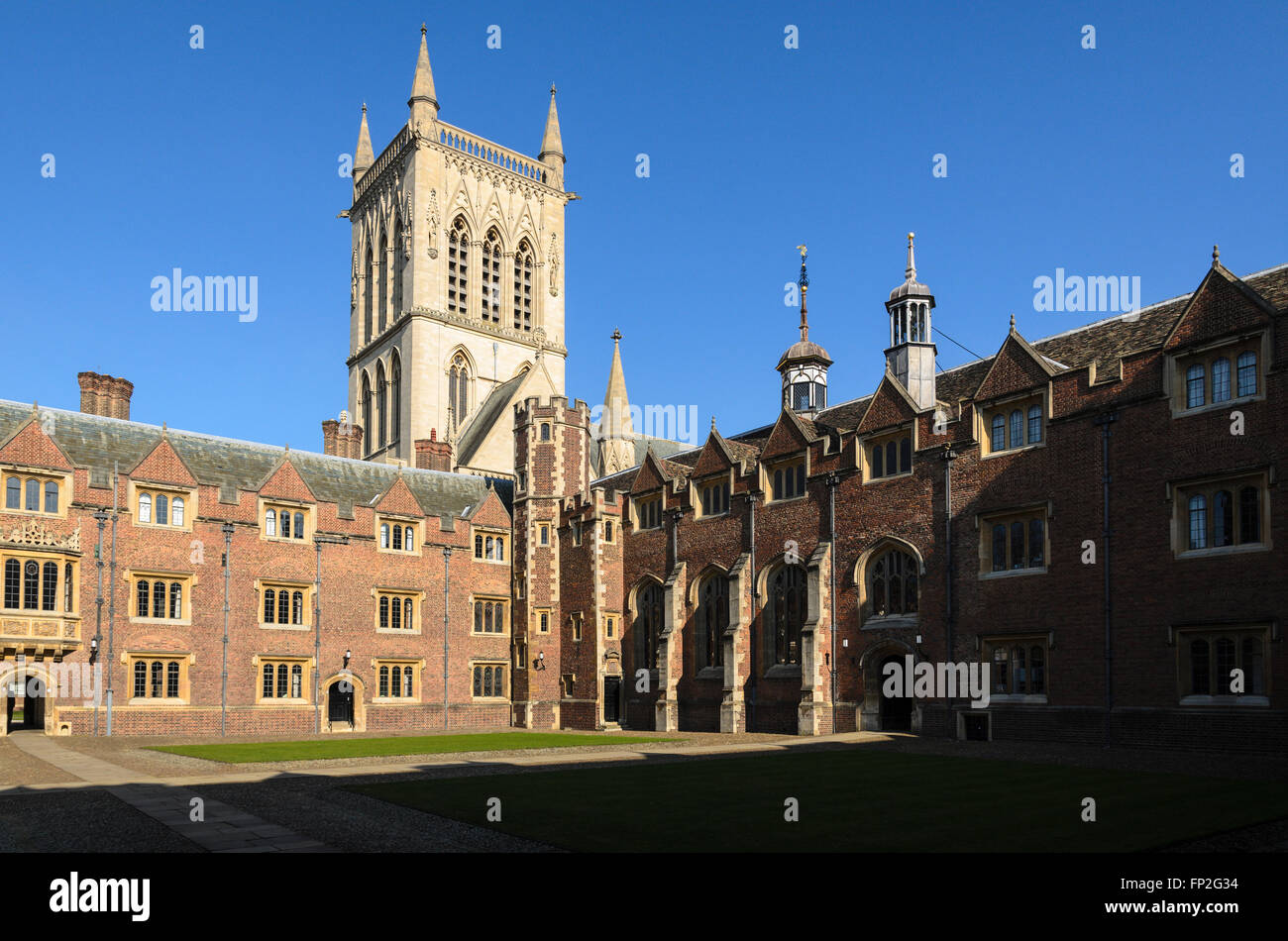 A quad at St Johns College, part of the University of Cambridge, England, United Kingdom.Stock Photo