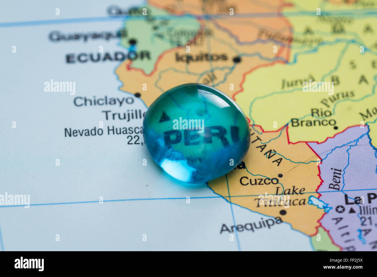 Peru On The World Map.Close Up Of A World Map With The Word Peru In Focus Stock Photo