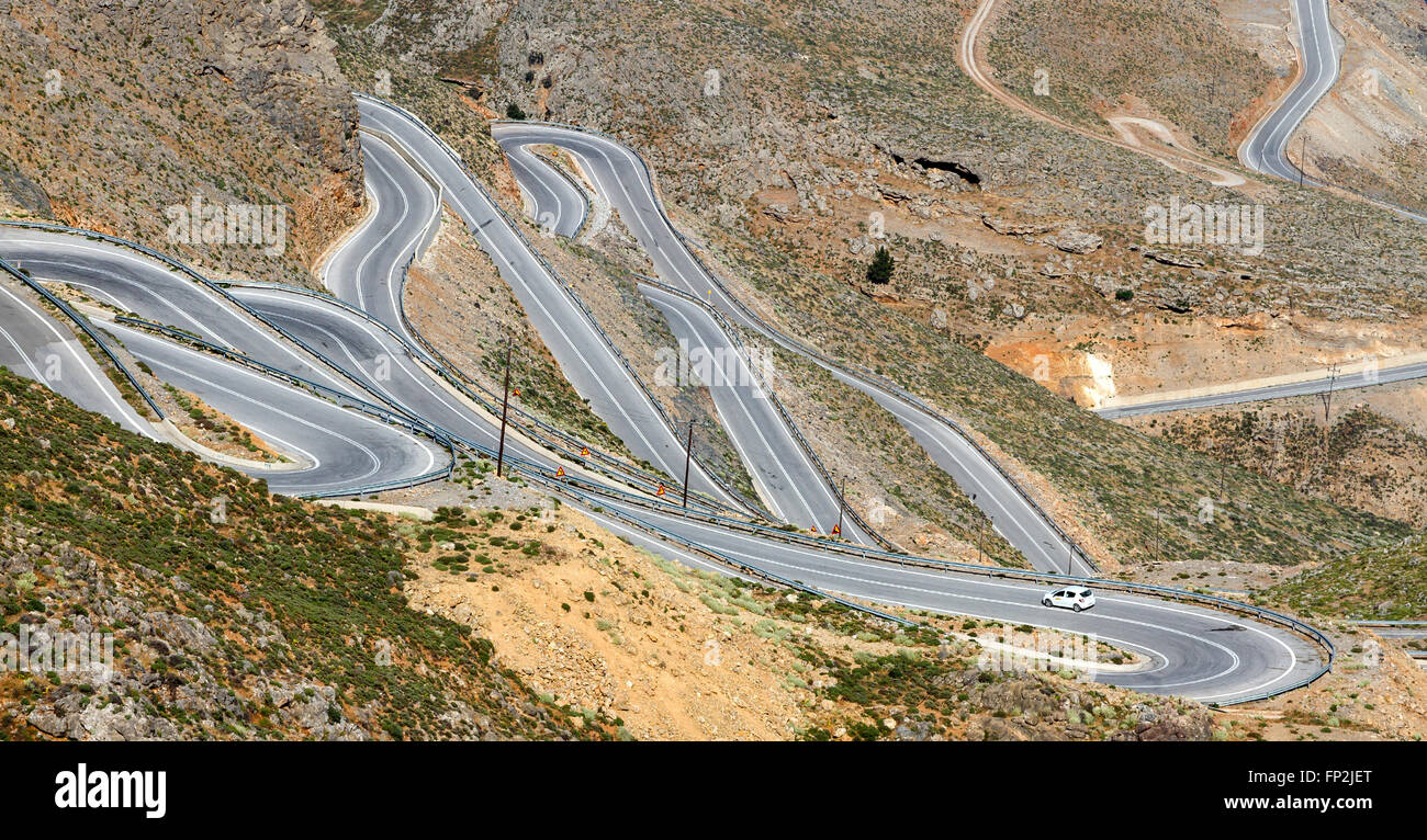 Tricky, rough roads at the mountainous region of Sfakia, in southern Crete, Greece, Europe. - Stock Image