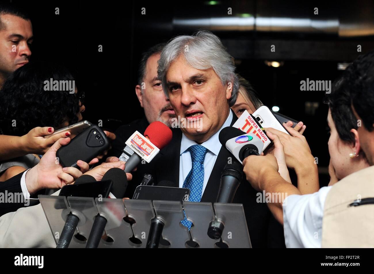Brazilian Senator Delcidio Amaral speaks to the media October 20, 2015 in Brasi'lia, Brazil. Amaral reached a plea Stock Photo