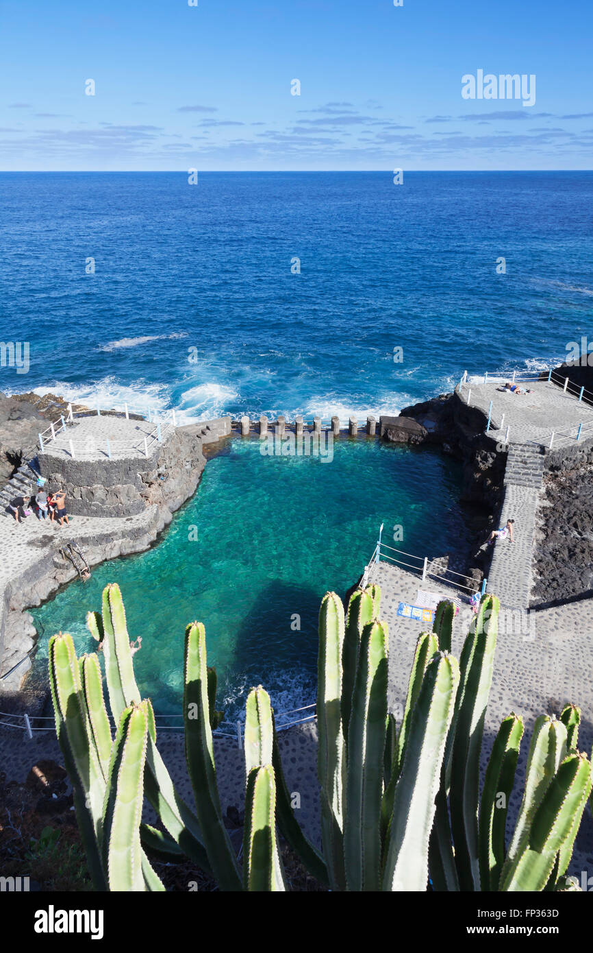 Natural swimming pool Charco Azul, San Andrés, La Palma, Canary Islands, Spain - Stock Image