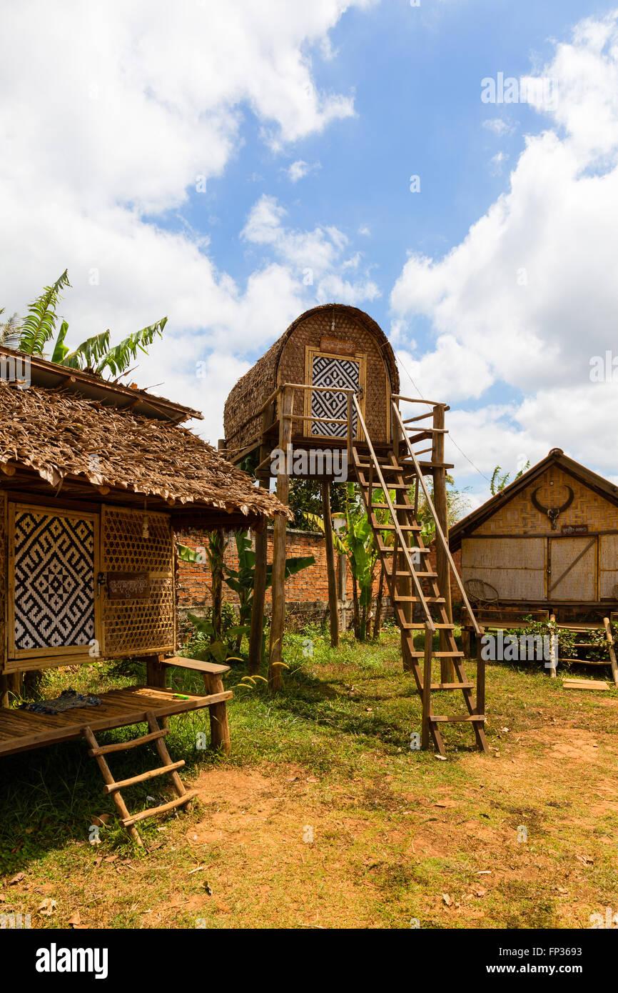 Traditional lodge in Senmonorom, Sen Monorom, Mondul Kiri, Mondulkiri Province, Cambodia - Stock Image