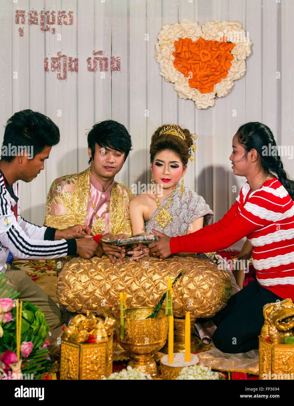Traditional wedding, cash gifts for the newlyweds, Senmonorom, Sen Monorom, Mondul Kiri, Province Mondulkiri, Cambodia - Stock Image