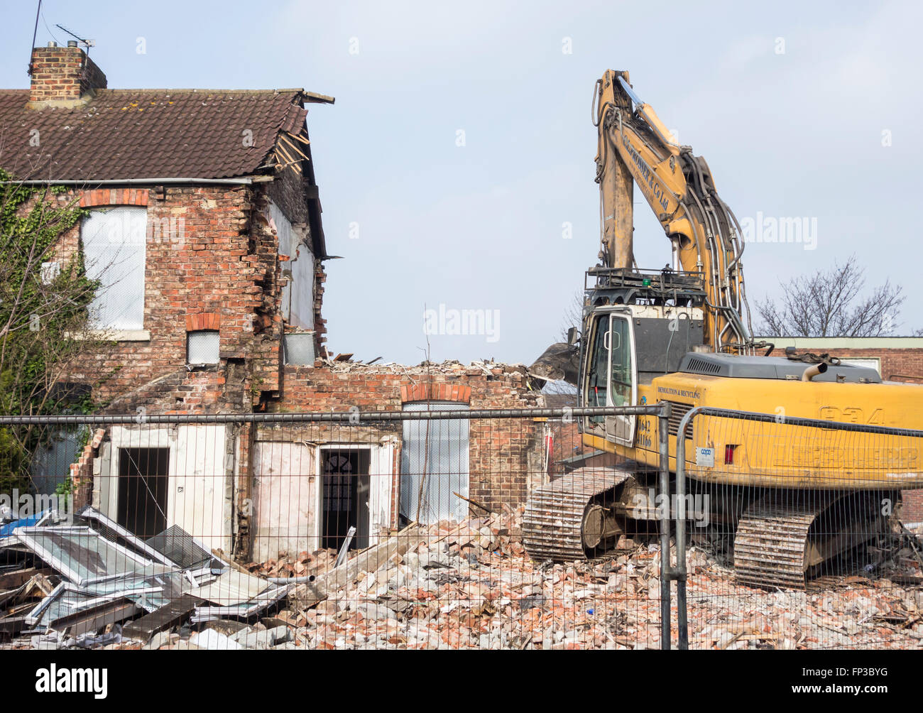 Rows of terraced houses being demolished in Middlesbrough, north east England - Stock Image