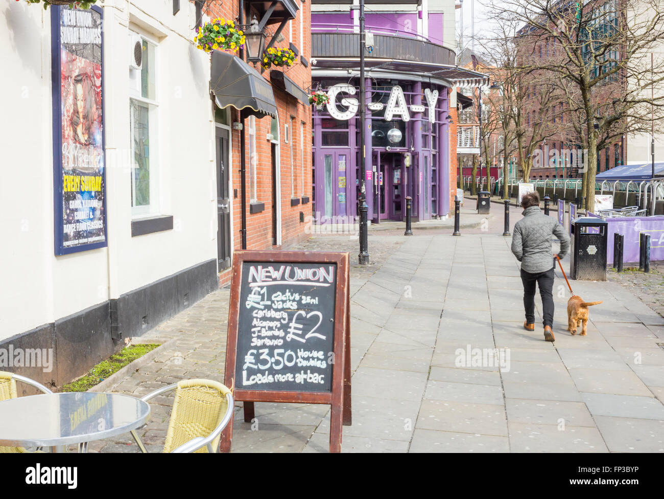 Canal street, the centre of Manchester`s Gay Village. Manchester, England, UK - Stock Image