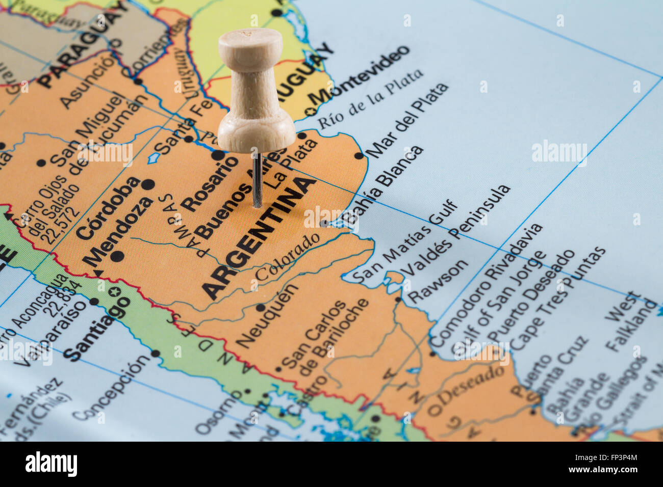 Push pin on a world map marking argentina as a destination concept push pin on a world map marking argentina as a destination concept gumiabroncs Choice Image