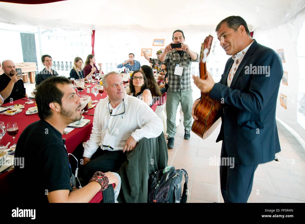 President Rafael Correa of Ecuador serenades the crew of Ecuador: The Royal Tour at a wrap party at the government - Stock Image