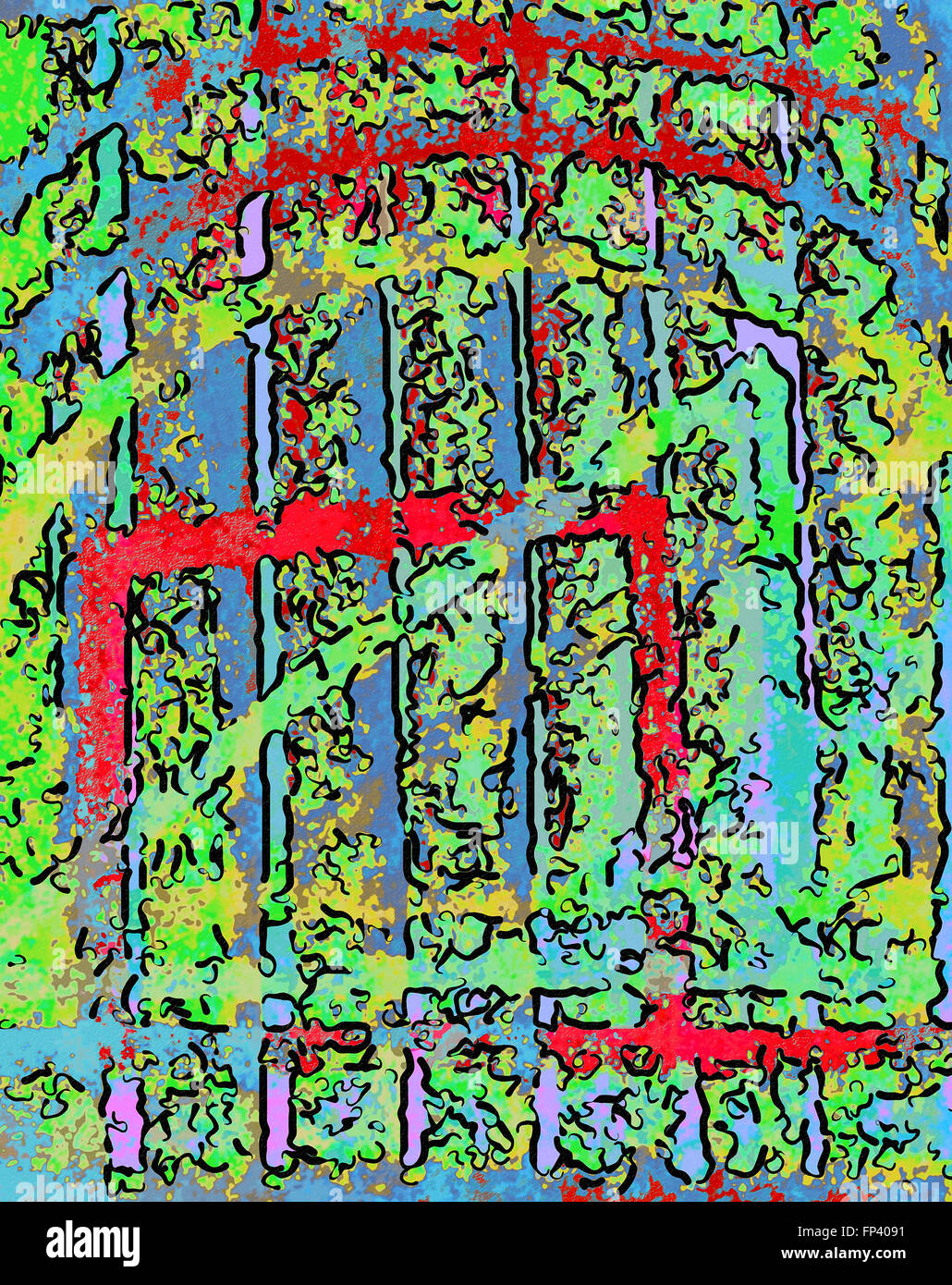 Abstract Image Of Garden Iron Gates With Red Outlines And Green Leaves