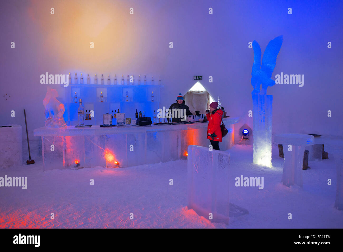Ice Bar at Snowman World Igloo Hotel in Rovaniemi in Lapland Finland. The merriest place on the Arctic Circle. A Stock Photo