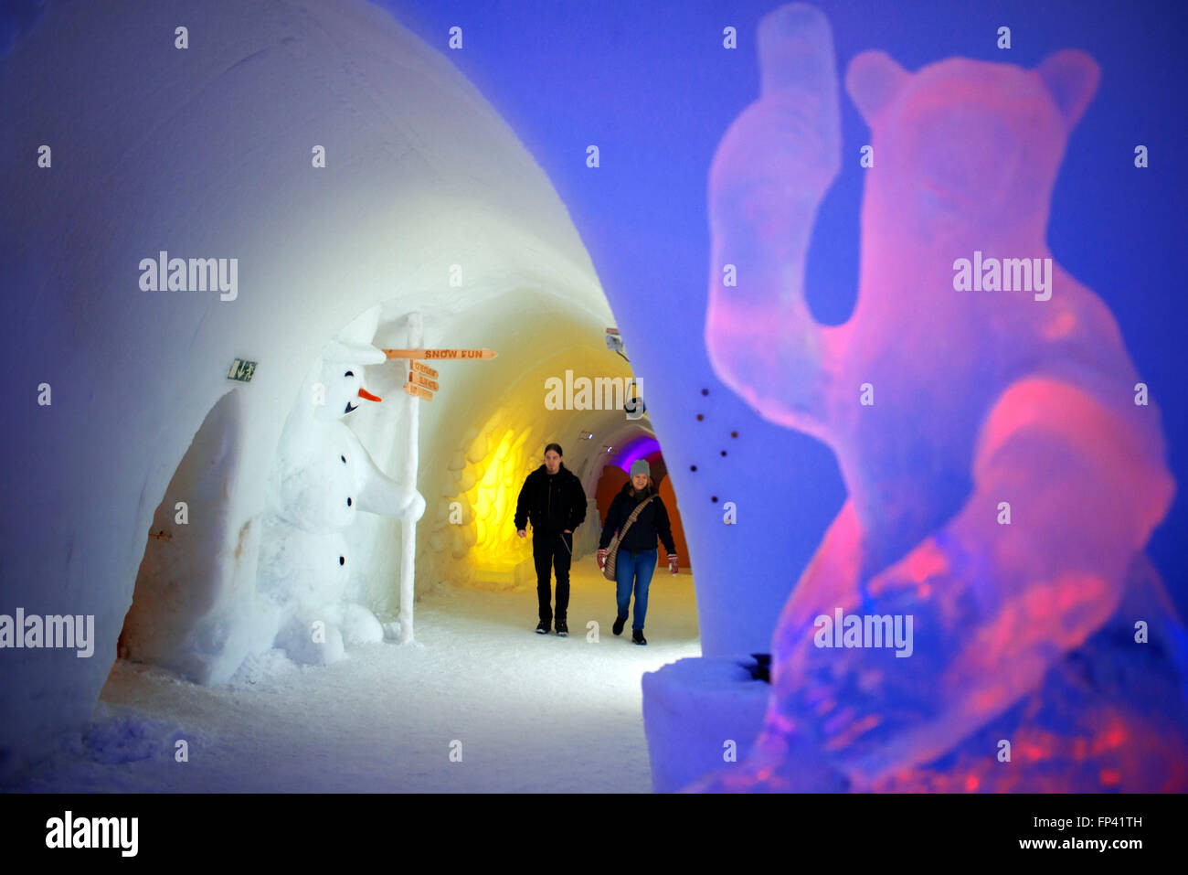 Hotel, rooms, acomodation. Igloo Hotel. Lapland, Finland. Snowman World Igloo Hotel in Rovaniemi in Lapland Finland. Stock Photo