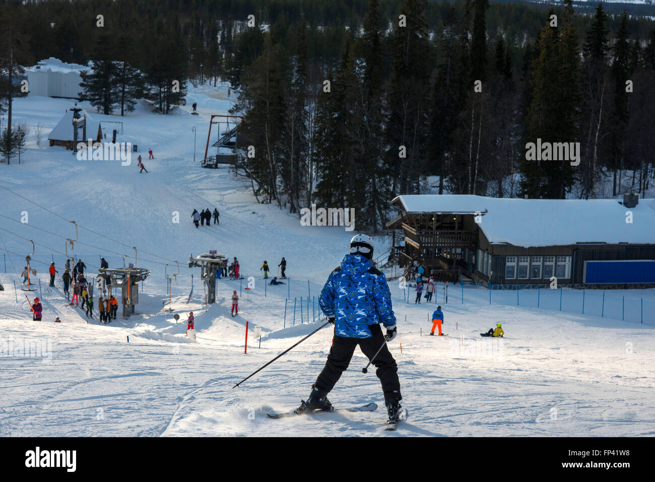 Salla ski resort. Deep in the wilderness of heavily snow laden coniferous trees and rugged fell highland, in the - Stock Image