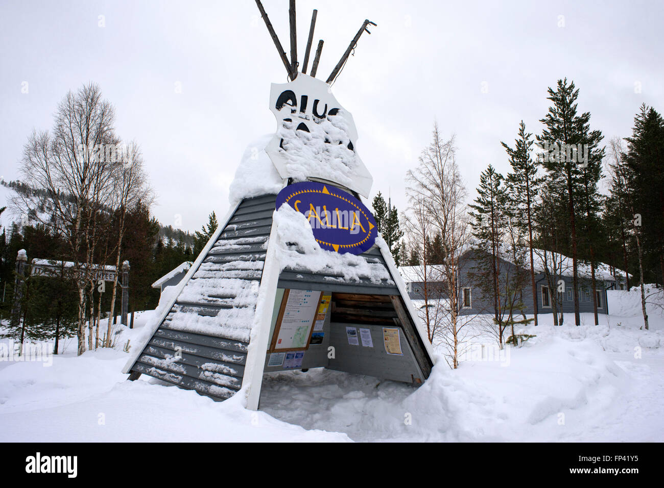 Salla, Lapland, Finland. Typical tend in the Salla sky complex resort. Salla was given the honour of being Finland's Stock Photo