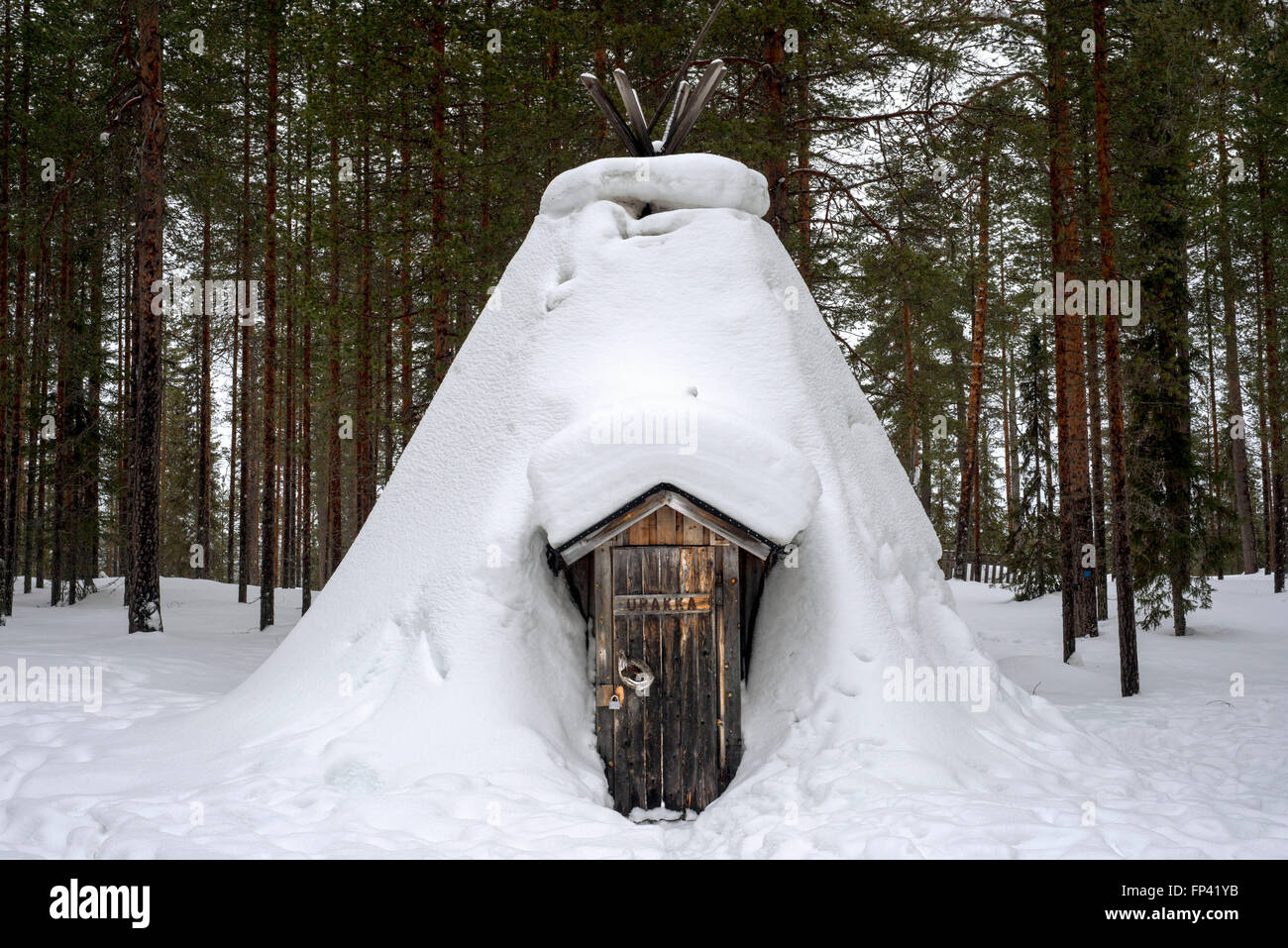 Salla, Lapland, Finland. Typical huts. Turf huts have very basic facilities and there is typically a stove or fireplace, Stock Photo