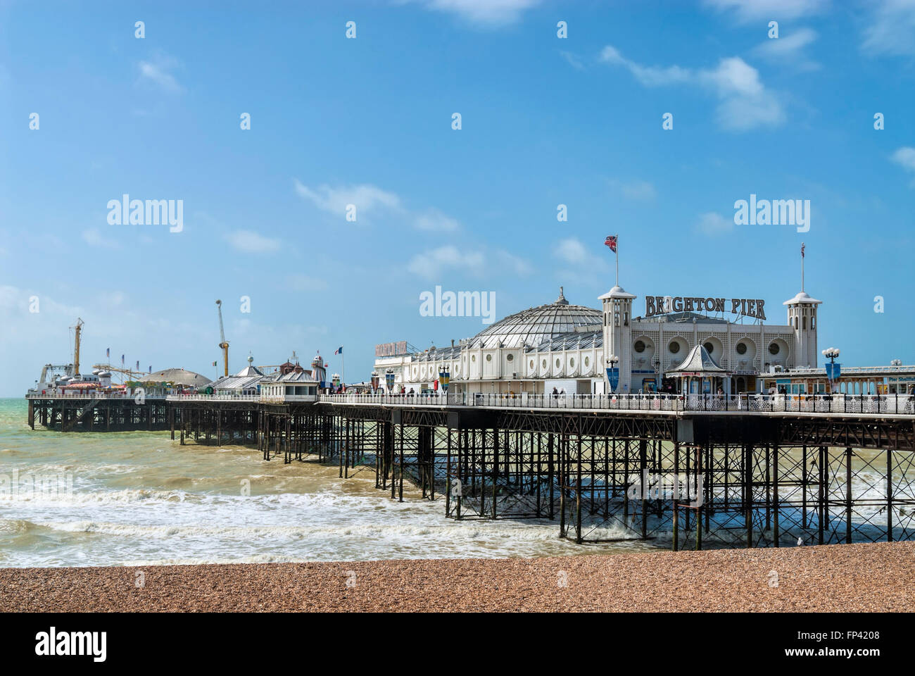 Brighton Pier in Summer, East Sussex South England - Stock Image