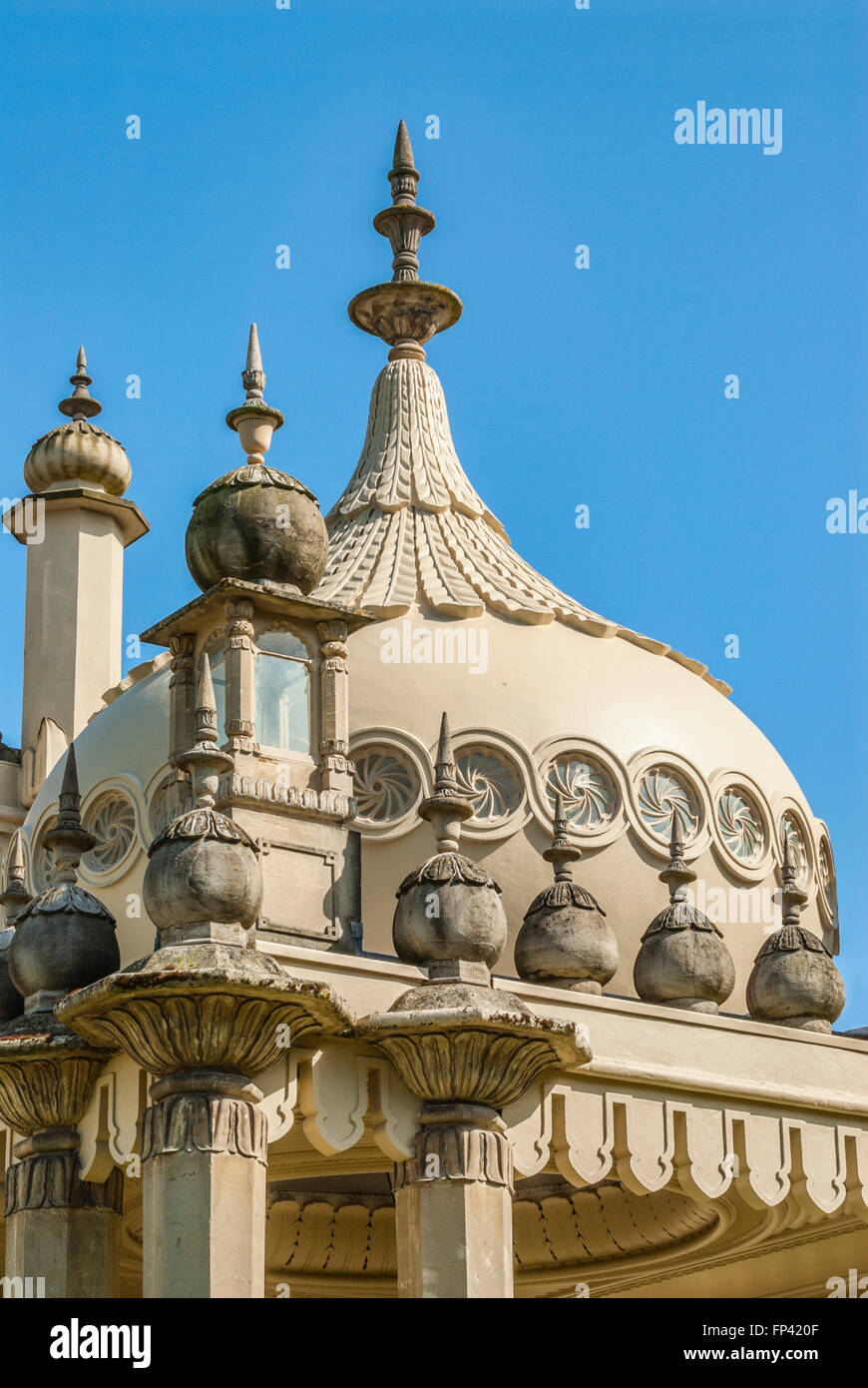 Detail of the Royal Pavilion of Brighton, East Sussex, England | Dachdetail des Royal Pavillion, Brighton, England, - Stock Image