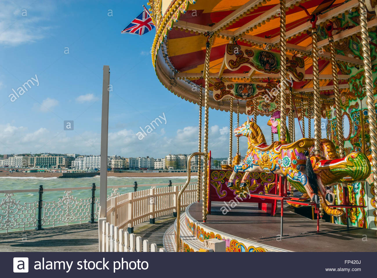 Brighton Pier merry-go-round, Brighton, East Sussex, England | Brighton Pier Karussell, Brighton, East Sussex, England - Stock Image