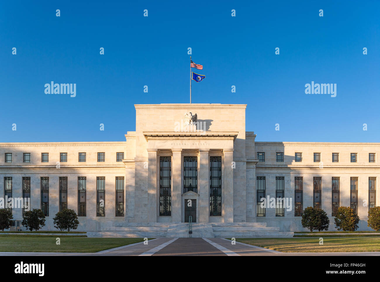 The Fed, Federal Reserve Bank, Washington DC. Marriner S. Eccles Building on Constitution Avenue near the National - Stock Image