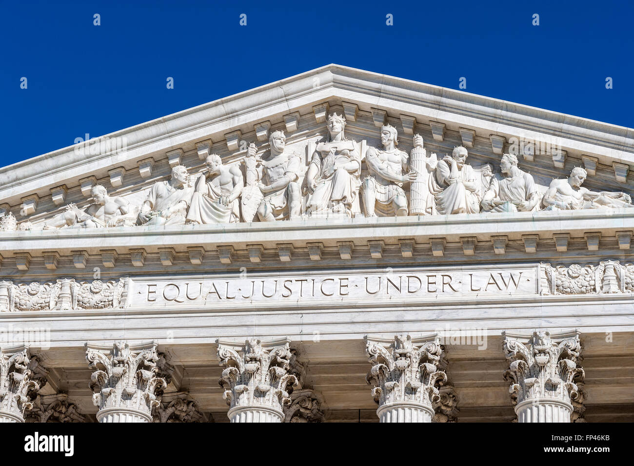 Washington DC. Main frieze of the US Supreme Court Building. On the architrave the famous words Equal Justice Under - Stock Image