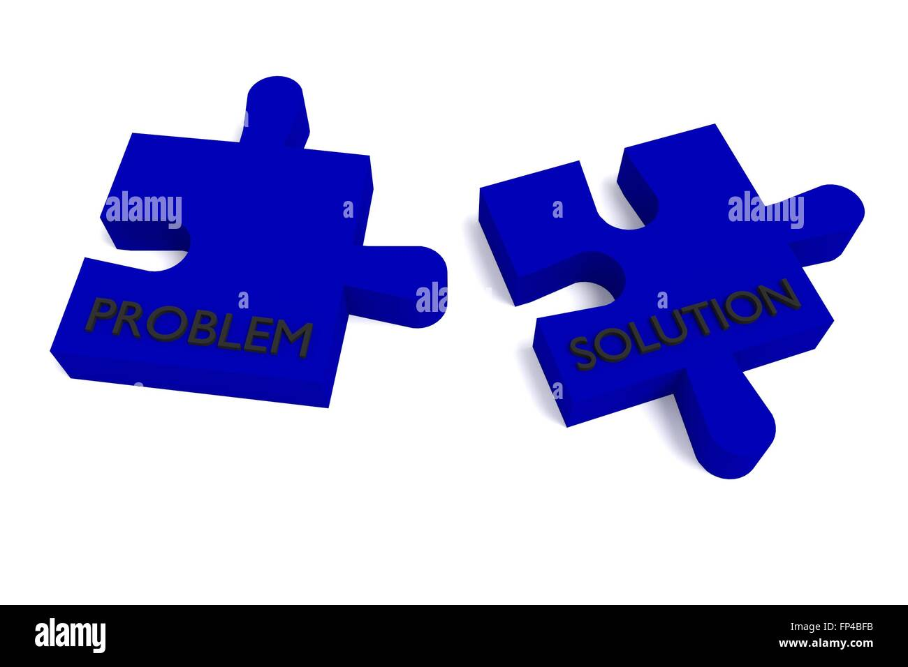 Blue puzzle, problem and solution Stock Photo