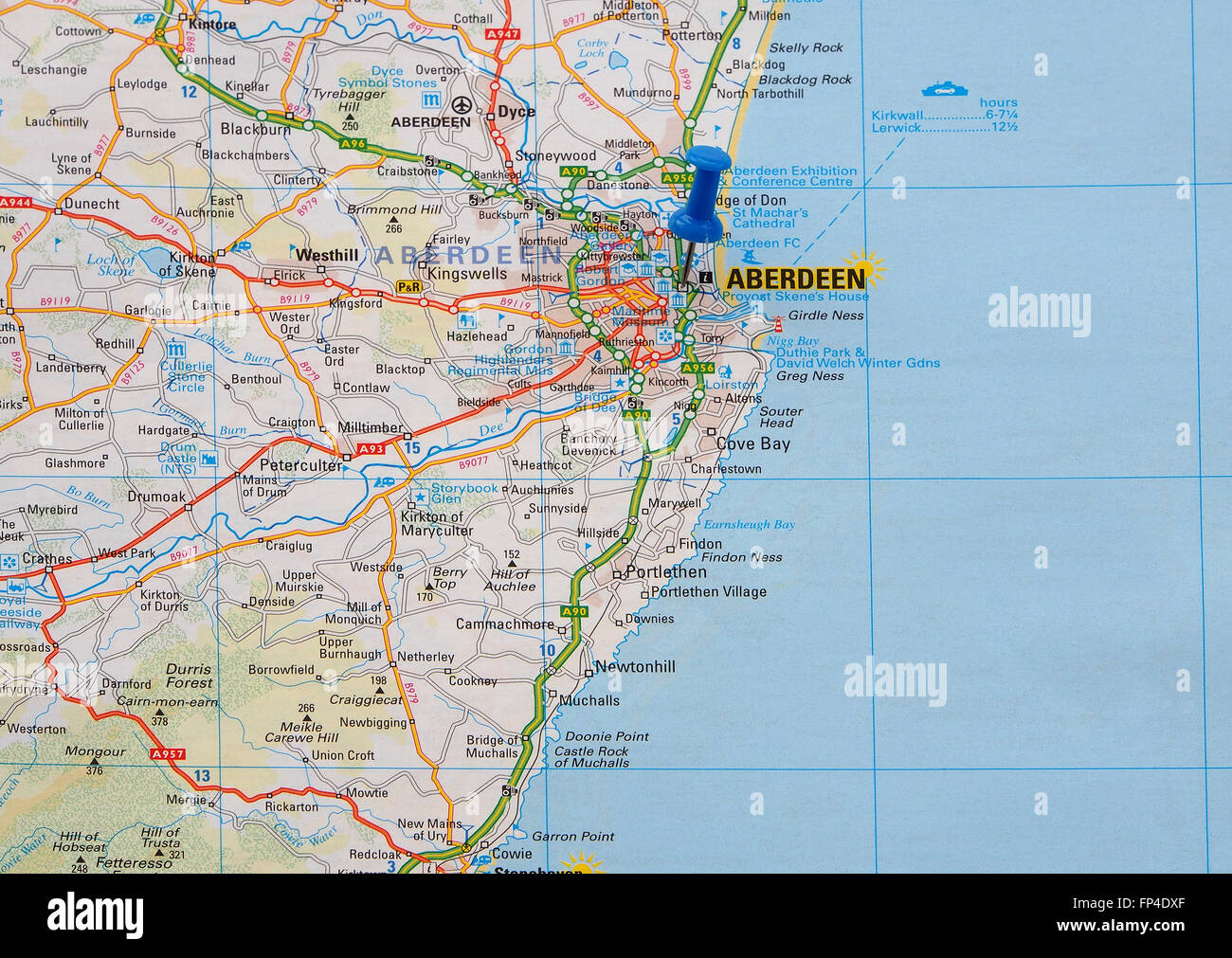 Road map of the east coast of Scotland, showing Aberdeen and the ...