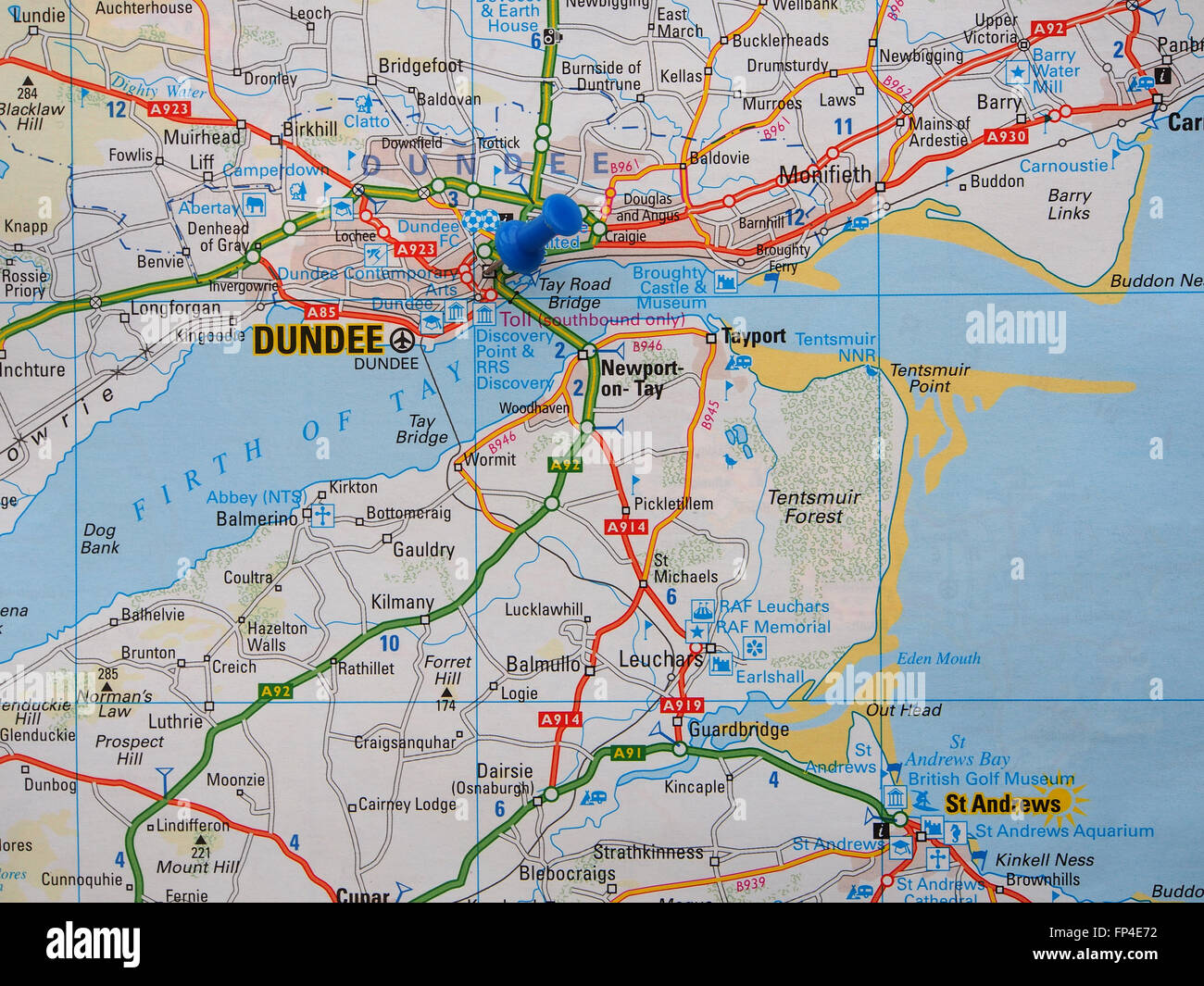Road map of Scotland showing the Dundee area and with a map pin in