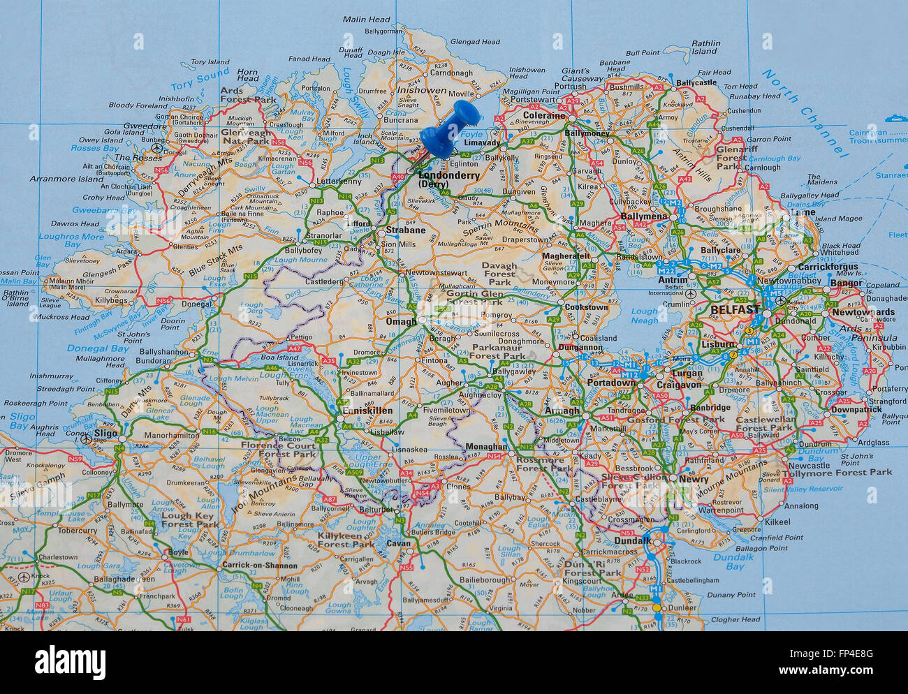 Road map of Northern Ireland with a map pin indicating Londonderry