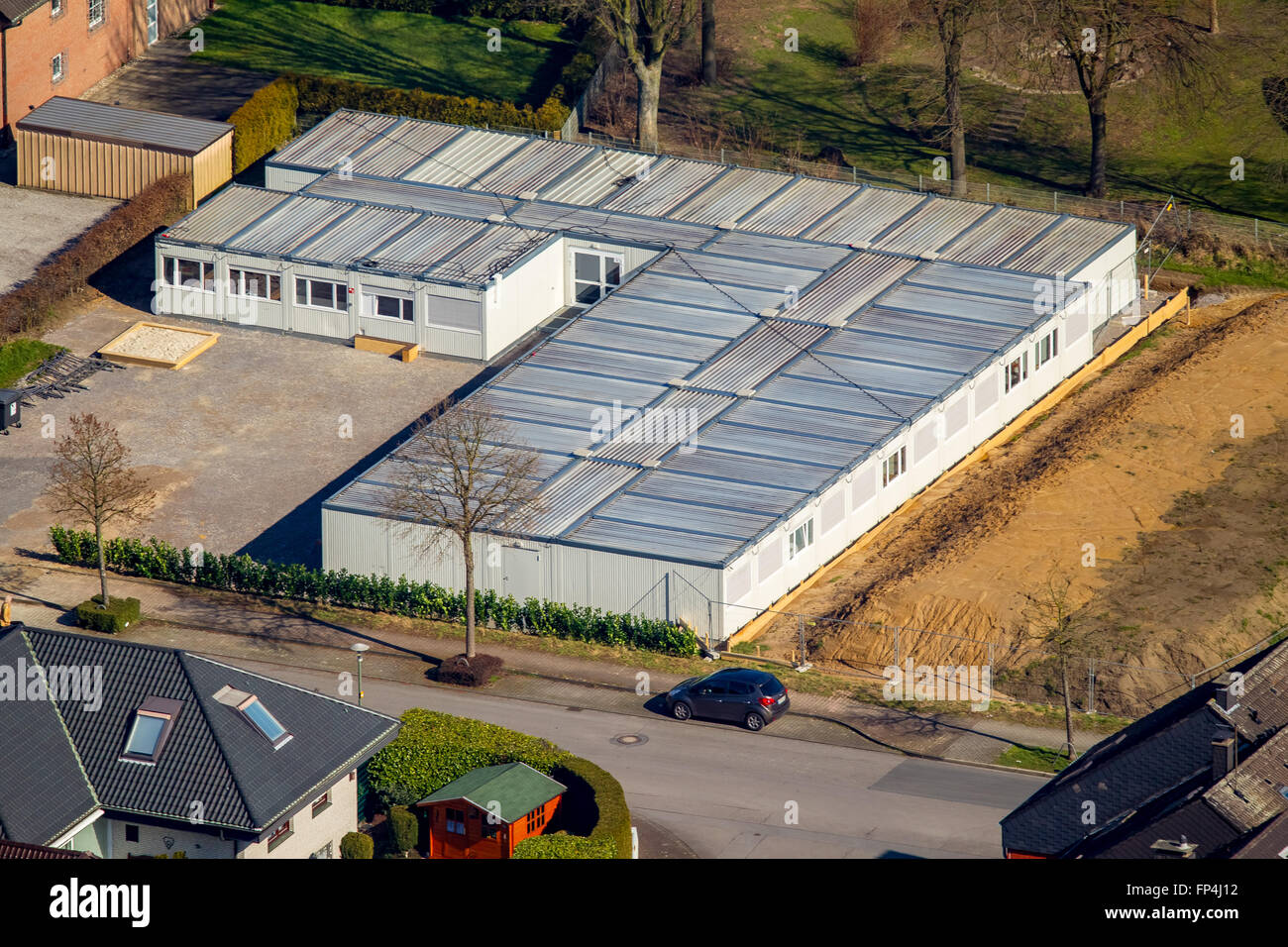 Aerial view, refugee accommodation Liboriweg Feldhausen, Feldhausen, Kirchhellen, Bottrop, Ruhr, Nordrhein-Westfalen, - Stock Image