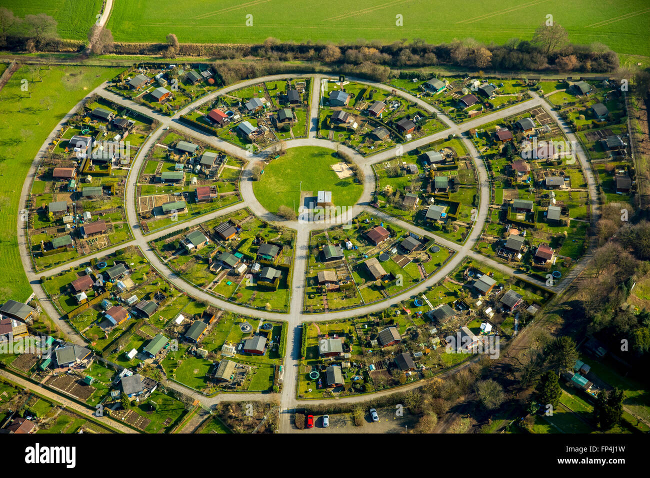 Aerial View Round Allotment Gardens Cacilienstrasse Allotments