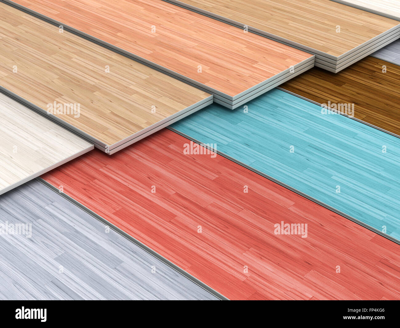 Multi Colored Parquet Flooring Boards With Various Textures