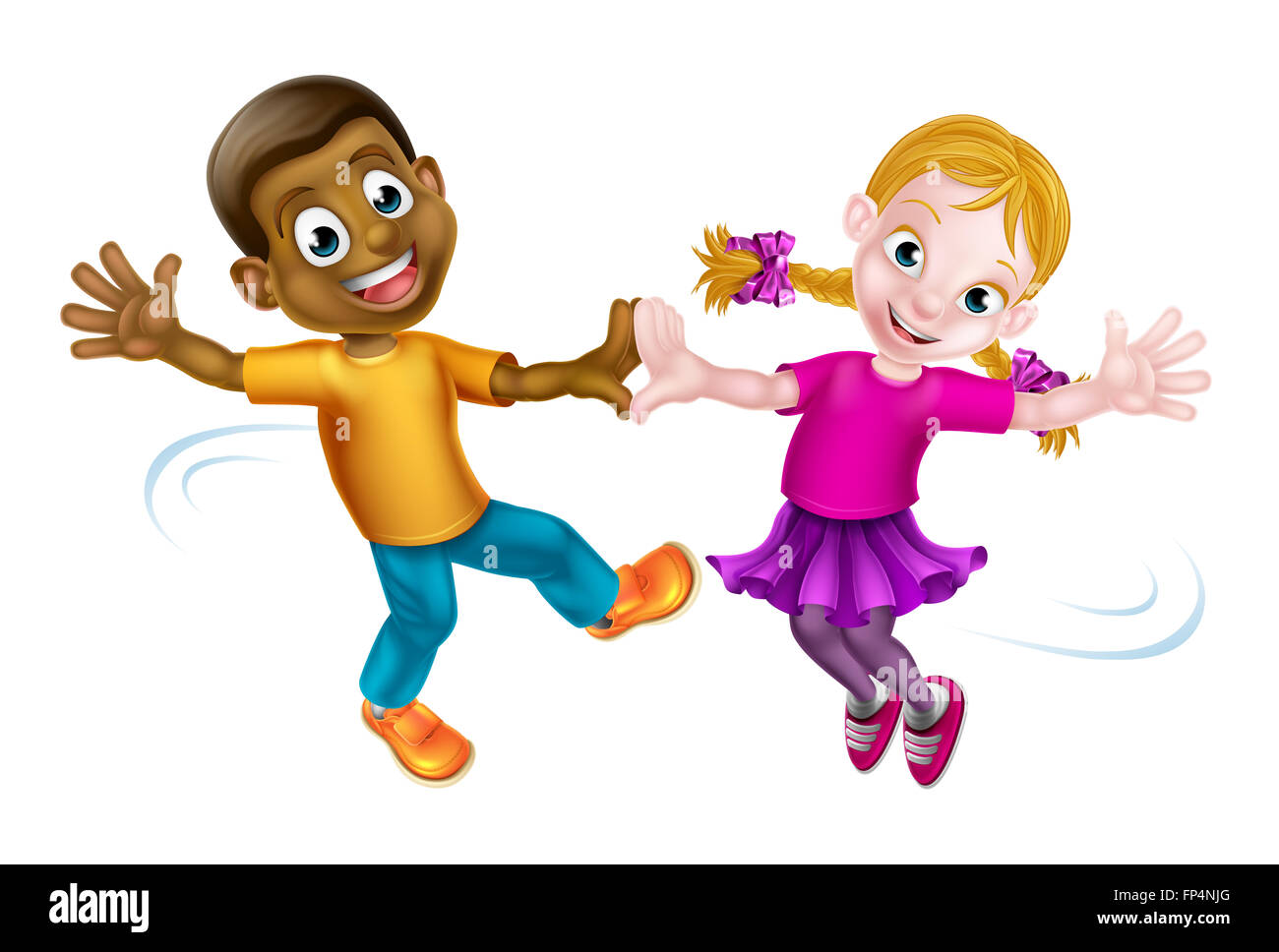 Two Cartoon Children A Black Boy And A White Girl
