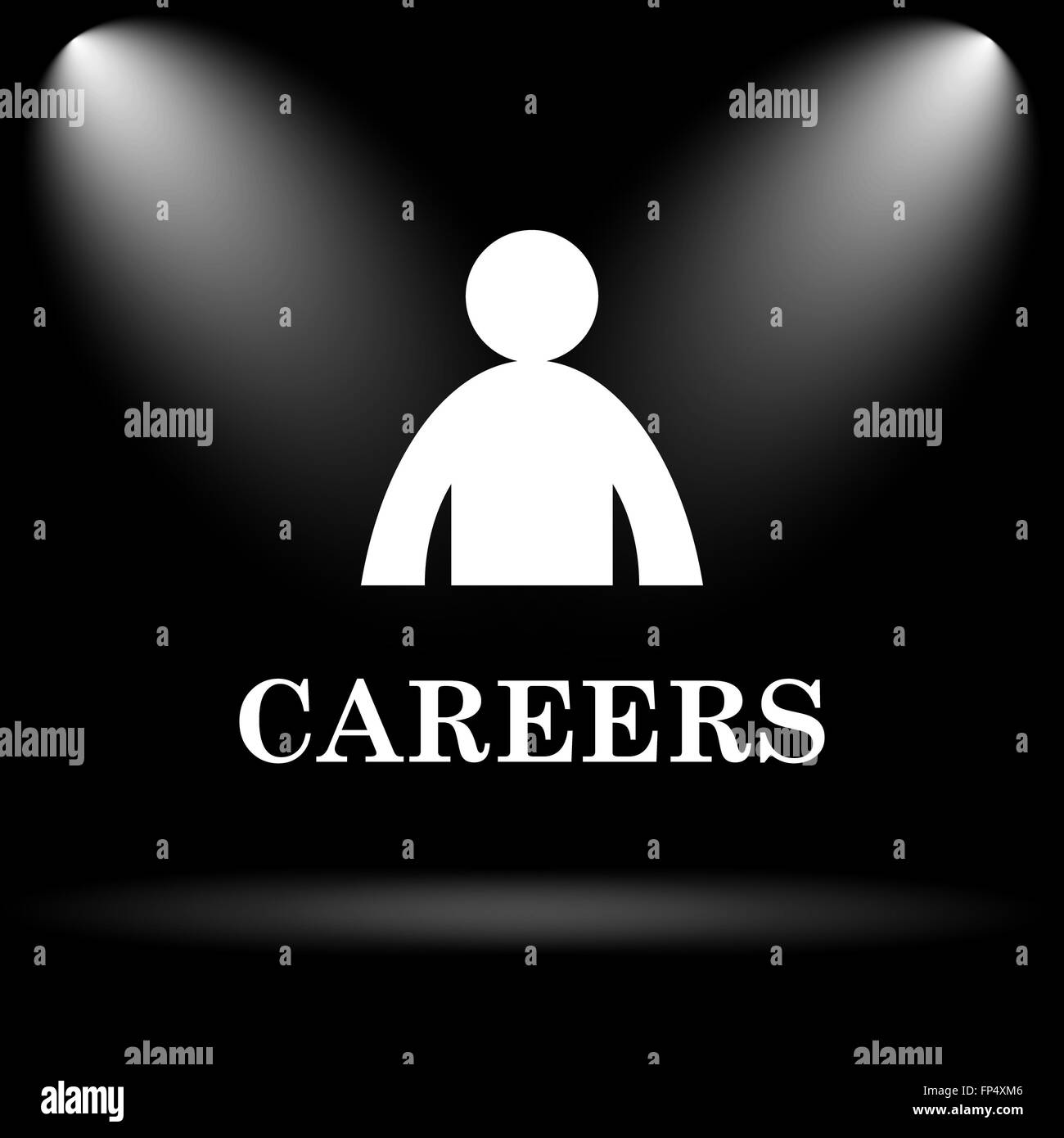 Careers icon. Internet button on black background. - Stock Image