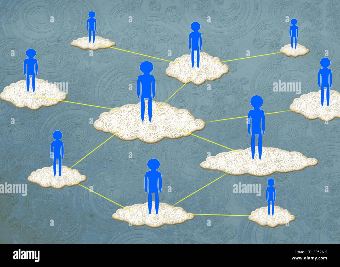 cloud computing concept digital illustration - Stock Image