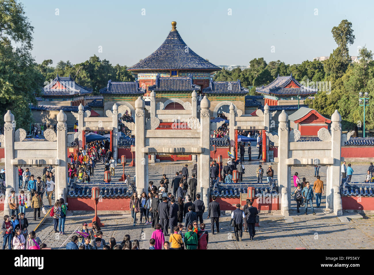 A lot of tourists visit a Temple of Heaven or 'Tiantan' pagoda in Beijing,China. - Stock Image