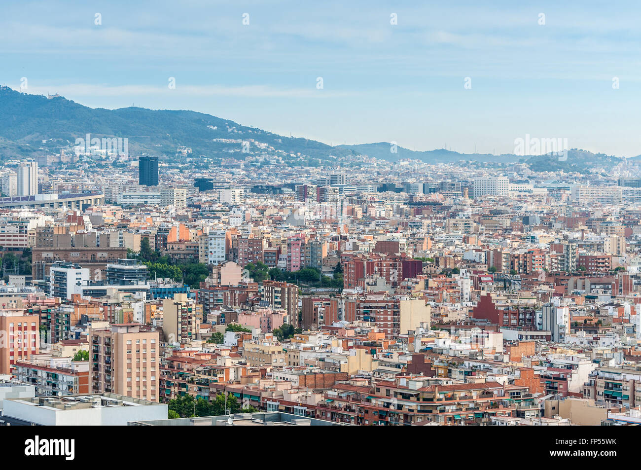 The view of Barcelona from high up in the Renaissance Barcelona Fira Hotel. - Stock Image