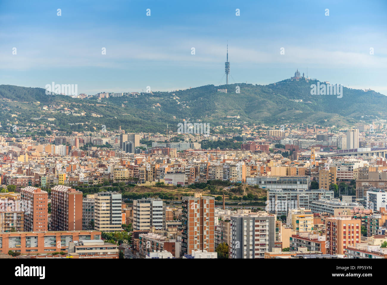The view of Barcelona from high up in the Renaissance Barcelona Fira Hotel - Stock Image